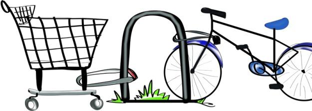 Grocery cart bike rack